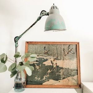 Large vintage duck print in frame